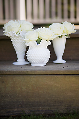 Milk glass centerpiece - elizabeth ann designs